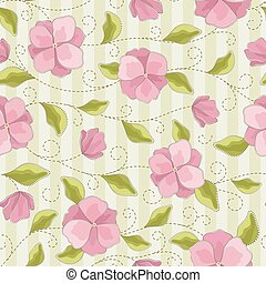 Seamless vector floral pattern with abstract flowers and stitch elements in pastel pink, green, white colors on striped background. Colorful print in classic style
