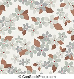Seamless vector floral pattern with abstract flowers in monochrome gray colors on white background