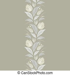 Seamless vector floral pattern with abstract flowers in pastel light beige colors. Endless vertical border