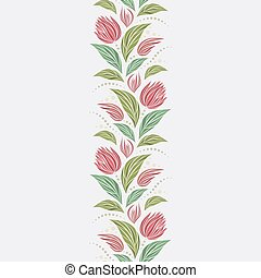 Seamless vector floral pattern with abstract mosaic flowers in green and pink colors on light background. Endless vertical border