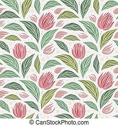 Seamless vector floral pattern with abstract mosaic flowers in green and pink colors on light background