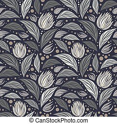Seamless vector floral pattern with abstract mosaic flowers in monochrome gray colors on dark background