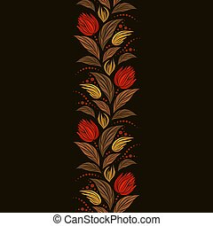 Seamless vector floral pattern with abstract mosaic flowers in red and yellow colors on black background. Endless vertical border