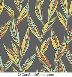 Seamless vector floral pattern with abstract mosaic leaves in pastel colors on dark-gray background