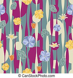 Seamless vector floral pattern with abstract tropical...