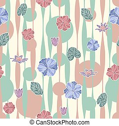 Seamless vector floral pattern with abstract tropical flowers in soft pastel colors on geometric background. Endless floral print