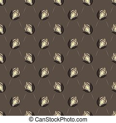 Seamless vector floral pattern with abstract vintage flowers in monochrome gray-brown colors on dark background