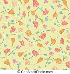 Seamless vector floral pattern with hand drawn abstract...