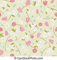 Seamless vector floral pattern with hand drawn spring flowers in pastel pink colors on light background. Ditsy print in sketch style