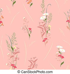 Seamless vector floral pattern with meadow flowers hand-drawn in sketch style in soft pastel colors on light pink background