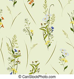 Seamless vector floral pattern with outline meadow flowers hand-drawn in sketch style in natural colors on light background