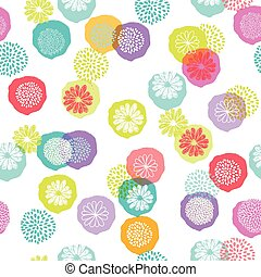 Seamless vector floral pattern with stylized flowers on white background, made of colorful circles.