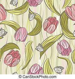 Seamless vector floral pattern with tulip flowers and leaves in pastel pink and green colors on wave background. Endless print in vintage style