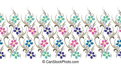 Seamless vector flower border on white background