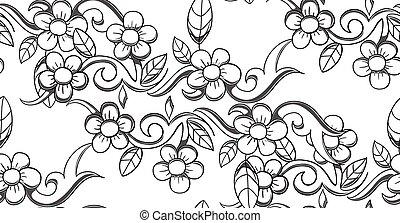 Seamless vector flower pattern illustration