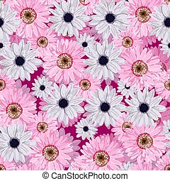 SEAMLESS VECTOR FLOWER PATTERN. Realistic flowers. Spring bright colors..