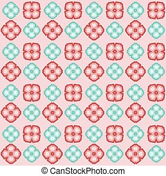 Seamless vector flower pattern red and blue