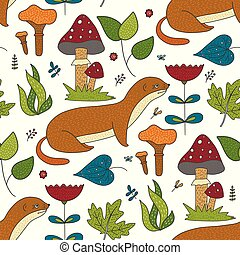 Seamless vector forest pattern with cute color...
