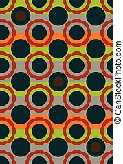 Seamless vector geometric circles pattern background in vintage colors