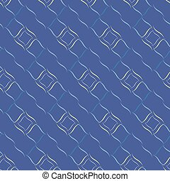 Seamless vector geometric pattern based on Arabic ornament in monochrome blue colors