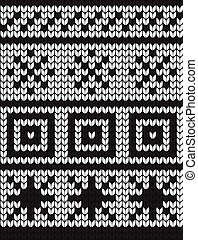 Seamless vector geometric pattern knitted black and white