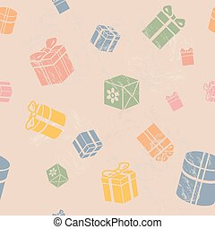 Seamless vector Gift box pattern, vintage