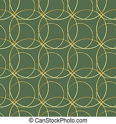 Seamless vector golden chain circle on green pattern background