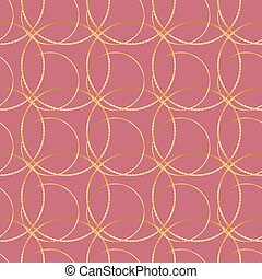 Seamless vector golden chain circle on red pattern background