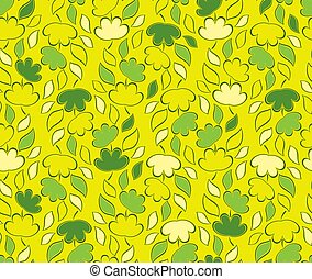 Seamless vector green leaves on yellow background
