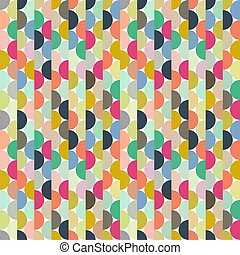 Seamless vector halves rounds colourful small pattern