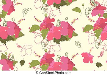 Seamless vector hibiscus floral pattern