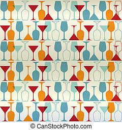 seamless, vector, ilustración, vino, cóctel