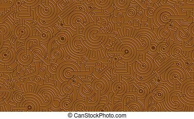 Seamless Vector Mechanical Pattern Texture. Isolated. Steampunk. Metallic. Bronze, Copper