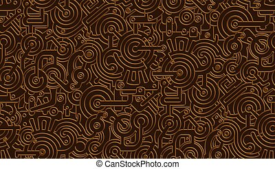 Seamless Vector Mechanical Pattern Texture. Isolated. Steampunk. Metallic. Bronze,Copper
