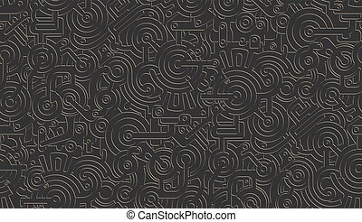 Seamless Vector Mechanical Pattern Texture. Isolated. Steampunk. Metallic. Gold on black background