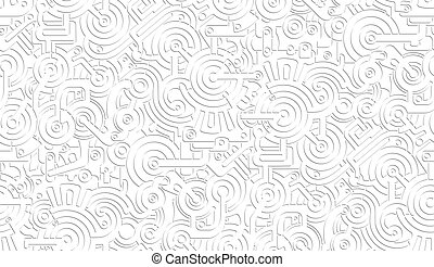 Seamless Vector Mechanical Pattern Texture. Isolated. Steampunk. White and Gray