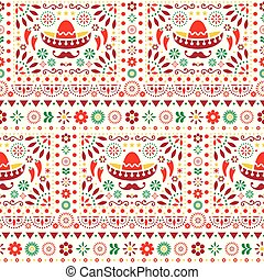 Seamless vector Mexican floral pattern with sombrero, chili peppers and flowers, happy repetitive background