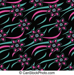 Seamless vector neon floral wallpaper