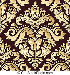 Seamless Vector Oriental Pattern With 3D Elements