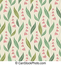 Seamless vector ornamental pattern with small abstract flowers in pastel green and pink colors on light background