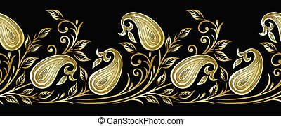 Seamless vector paisley border with leaves