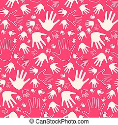 Seamless Vector Palm Hands on Pink Retro Background