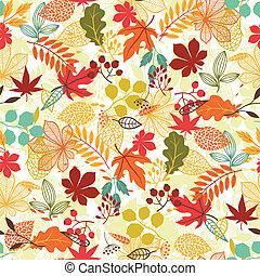 seamless, vector, patrón, con, estilizado, otoño, leaves.