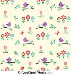 seamless, vector, patrón, con, florecer, ramas