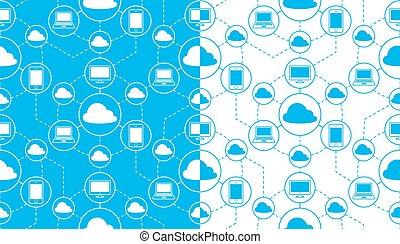 seamless, vector, patrón, de, nube, informática,...