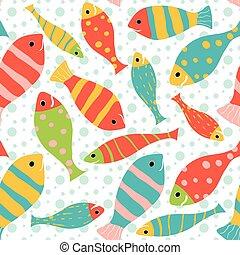 seamless, vector, patrón, de, pez