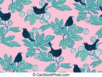 Seamless vector pattern background with cute birds on the branches of a fig tree on pink background. Surface pattern design.