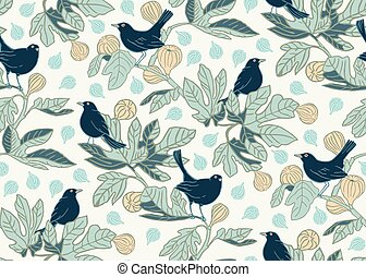 Seamless vector pattern background with cute birds on the branches of a fig tree. Surface pattern design.