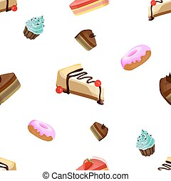 Seamless VECTOR pattern: confectionery on white background