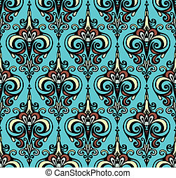 Seamless vector pattern damask swirl